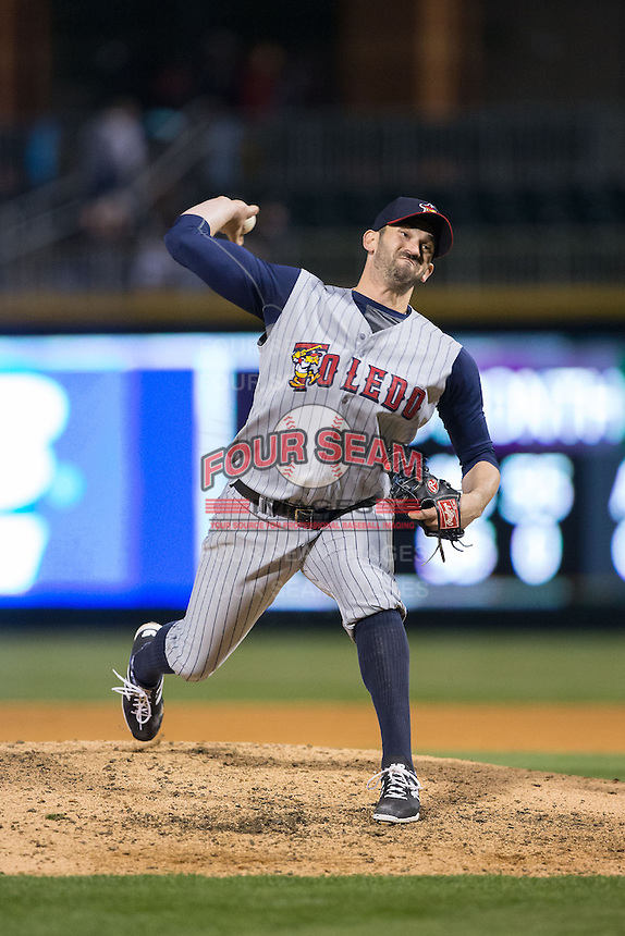 Toledo Mud Hens relief pitcher Josh Zeid (26) delivers a pitch to the plate against the Charlotte Knights at BB&T BallPark on April 27, 2015 in Charlotte, North Carolina.  The Knights defeated the Mud Hens 7-6 in 10 innings.   (Brian Westerholt/Four Seam Images)