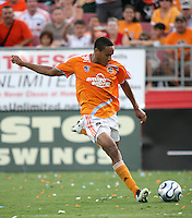 Houston Dynamo midfielder Ricardo Clark (13)strikes the ball.  Houston Dynamo defeated FC Dallas 1-0 in an MLS regular season match at Robertson Stadium in Houston, TX on August 19, 2007.
