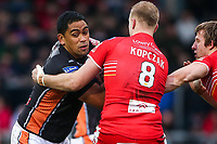 Picture by Alex Whitehead/SWpix.com - 19/03/2017 - Rugby League - Betfred Super League - Salford Red Devils v Castleford Tigers - AJ Bell Stadium, Salford, England - Castleford's Junior Moores is tackled by Salford's Craig Kopczak.