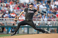 Mississippi State Bulldogs pitcher Ethan Small (44) delivers a pitch to the plate during Game 4 of the NCAA College World Series against the Auburn Tigers on June 16, 2019 at TD Ameritrade Park in Omaha, Nebraska. Mississippi State defeated Auburn 5-4. (Andrew Woolley/Four Seam Images)