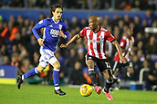 1st November 2017, St. Andrews Stadium, Birmingham, England; EFL Championship football, Birmingham City versus Brentford; Kamohelo Mokotjo of Brentford controls the ball and looks for the next pass