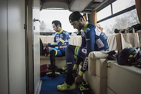 Guillaume van Keirsbulck (BEL/Wanty-Groupe Gobert) &amp; J&eacute;r&ocirc;me Baugnies (BEL/Wanty-Groupe Gobert) preparing for the race in the back of the team bus<br /> <br /> GP Le Samyn 2017 (1.1)