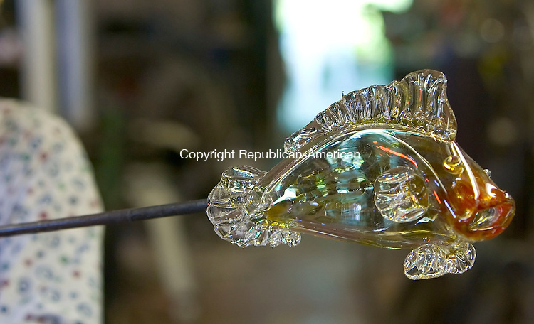 MORRIS, CT-09 AUGUST 2006-080906JS08-A fish made of glass created by Larry Livolsi, owner and artist at Lorenz Studio in Morris. --Jim Shannon Republican-American