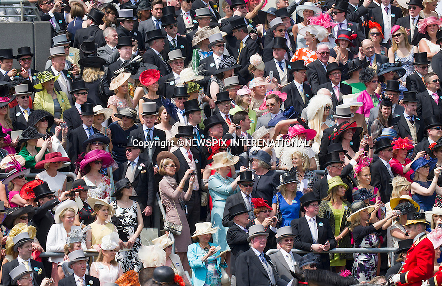 ASCOT HAT FASHIONS<br /> on the seconday day of the Royal Meeting at Ascot Racecourse, Ascot_19/06/2013<br /> Mandatory Credit Photo: &copy;Francis Dias/NEWSPIX INTERNATIONAL<br /> <br /> **ALL FEES PAYABLE TO: &quot;NEWSPIX INTERNATIONAL&quot;**<br /> <br /> IMMEDIATE CONFIRMATION OF USAGE REQUIRED:<br /> Newspix International, 31 Chinnery Hill, Bishop's Stortford, ENGLAND CM23 3PS<br /> Tel:+441279 324672  ; Fax: +441279656877<br /> Mobile:  07775681153<br /> e-mail: info@newspixinternational.co.uk