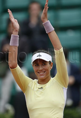 01.06.2016. Roland Garros, Paris, France. Garbine Muguruza of Spain celebrates her victory over Shelby Rogers of the United States during womens singles quarterfinal at the Roland Garr2016 French Tennis Open in Paris, France, June 1, 2016. Muguruza won 2-0.