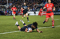 Anthony Watson of Bath Rugby scores his first try of the match. European Rugby Champions Cup match, between Bath Rugby and RC Toulon on December 16, 2017 at the Recreation Ground in Bath, England. Photo by: Patrick Khachfe / Onside Images