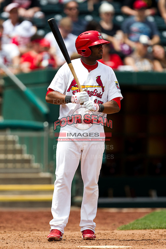 Xavier Scruggs (15) of the Springfield Cardinals at bat during a game against the Arkansas Travelers at Hammons Field on May 8, 2012 in Springfield, Missouri. (David Welker/ Four Seam Images)