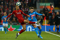 Liverpool's Fabinho battles with Napoli's Piotr Zielinski<br /> <br /> Photographer Alex Dodd/CameraSport<br /> <br /> UEFA Champions League Group E - Liverpool v Napoli - Wednesday 27th November 2019 - Anfield - Liverpool<br />  <br /> World Copyright © 2018 CameraSport. All rights reserved. 43 Linden Ave. Countesthorpe. Leicester. England. LE8 5PG - Tel: +44 (0) 116 277 4147 - admin@camerasport.com - www.camerasport.com