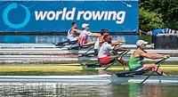 """Lucerne, SWITZERLAND, 12th July 2018, Friday, """"BEN M1X"""", """"Privel HINKATI"""", moves away from the Start at the FISA World Cup series, No.3, Lake Rotsee, Lucerne, © Peter SPURRIER,"""