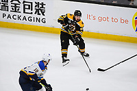 June 12, 2019: Boston Bruins left wing Brad Marchand (63)m passes the puck during game 7 of the NHL Stanley Cup Finals between the St Louis Blues and the Boston Bruins held at TD Garden, in Boston, Mass.  The Saint Louis Blues defeat the Boston Bruins 4-1 in game 7 to win the 2019 Stanley Cup Championship.  Eric Canha/CSM.
