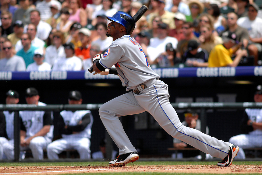 25 May 2008: New York Mets shortstop Jose Reyes hits against the Colorado Rockies. The Rockies defeated the Mets 4-1 at Coors Field in Denver, Colorado.