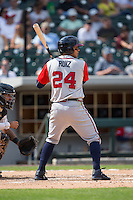 Rio Ruiz (24) of the Gwinnett Braves at bat against the Charlotte Knights at BB&T BallPark on May 22, 2016 in Charlotte, North Carolina.  The Knights defeated the Braves 9-8 in 11 innings.  (Brian Westerholt/Four Seam Images)
