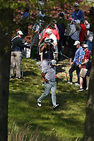 Hideki Matsuyama (JPN) making his way to the 15th tee during the 3rd round at the PGA Championship 2019, Beth Page Black, New York, USA. 19/05/2019.<br /> Picture Fran Caffrey / Golffile.ie<br /> <br /> All photo usage must carry mandatory copyright credit (© Golffile | Fran Caffrey)