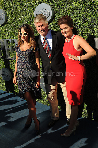 FLUSHING NY- AUGUST 29: Alec Baldwin and Hilaria Baldwin and Debra Messing arrive during opening night ceremonys on Arthur Ashe Stadium at the USTA Billie Jean King National Tennis Center on August 29, 2016 in Flushing Queens. Photo by MPI04/MediaPunch