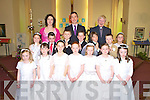 Katie Ring, Caitri?n Jones, Ava Looney, Katie Horgan, Rebecca Browne, Jessica Sheehan, Sarah Jane Guiney, Brid O'Connor, Denis O'Connor, Gearo?id Looney, Daniel O'Mahony, Niall O'Connor and Katie Willis, Knocknagree National School, pictured with teacher Marguerite Dineen, principal DJ Golden and Fr Con Buckley after they received the First Holy Communion in Knocknagree on Saturday........