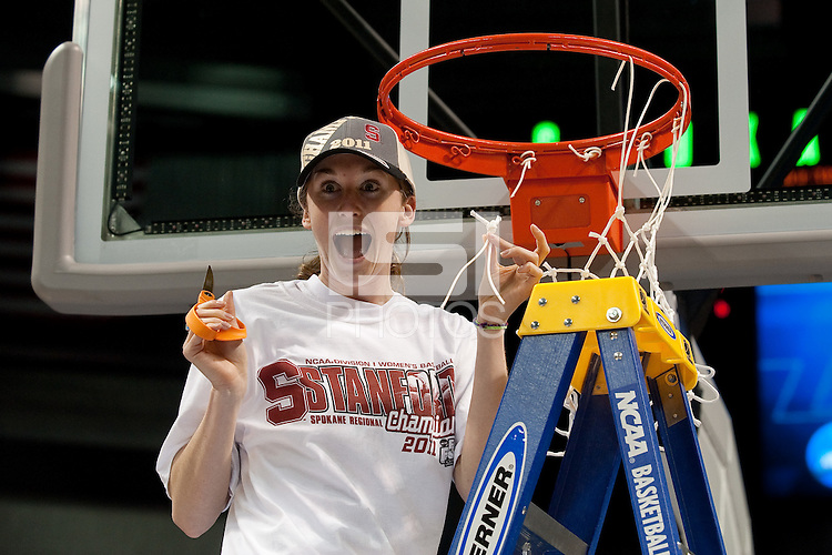 SPOKANE, WA - MARCH 28, 2011: Hannah Donaghe, Stanford Women's Basketball vs Gonzaga, NCAA West Regional Finals at the Spokane Arena on March 28, 2011.