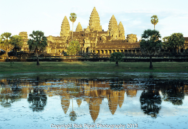 Angkor Wat Reflections 01 - Western entrance Gopura and towers reflected in pool, late afternoon, Angkor Wat Temple, Cambodia