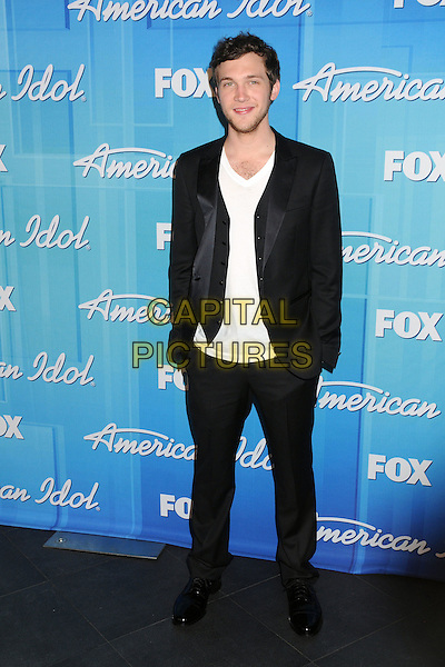 Phillip Phillips.American Idol Season 11 Finale - Press Room held at Nokia Theatre LA Live, Los Angeles, California, USA..May 23rd, 2012.full length black suit white top.CAP/ADM/BP.©Byron Purvis/AdMedia/Capital Pictures.