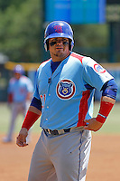 Tennessee Smokies first baseman Dan Vogelbach (21) at bat during a game against the Jacksonville Suns at Bragan Field on the Baseball Grounds of Jacksonville on June 13, 2015 in Jacksonville, Florida.  Tennessee defeated Jacksonville 12-3. (Robert Gurganus/Four Seam Images)