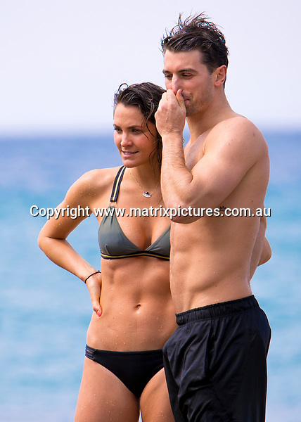 24 SEPTEMBER 2017 SYDNEY AUSTRALIA<br /> WWW.MATRIXPICTURES.COM.AU<br /> <br /> EXCLUSIVE PICTURES<br /> <br /> Matty J pictured with Laura Byrne and her three legged pooch Buster enjoying a swim at Mackenzies Bay.<br /> <br /> Note: All editorial images subject to the following: For editorial use only. Additional clearance required for commercial, wireless, internet or promotional use.Images may not be altered or modified. Matrix Media Group makes no representations or warranties regarding names, trademarks or logos appearing in the images.