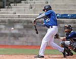 Wildcats' Kody Reynolds hits a double against Utah State University Eastern at Western Nevada College in Carson City, Nev., on Saturday, April 25, 2015. Reynolds went 3 for 4 with a double and a home run in the 7-1 WNC win. <br /> Photo by Cathleen Allison/Nevada Photo Source