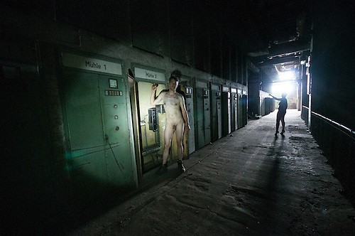 Erotic shoot in a power station
