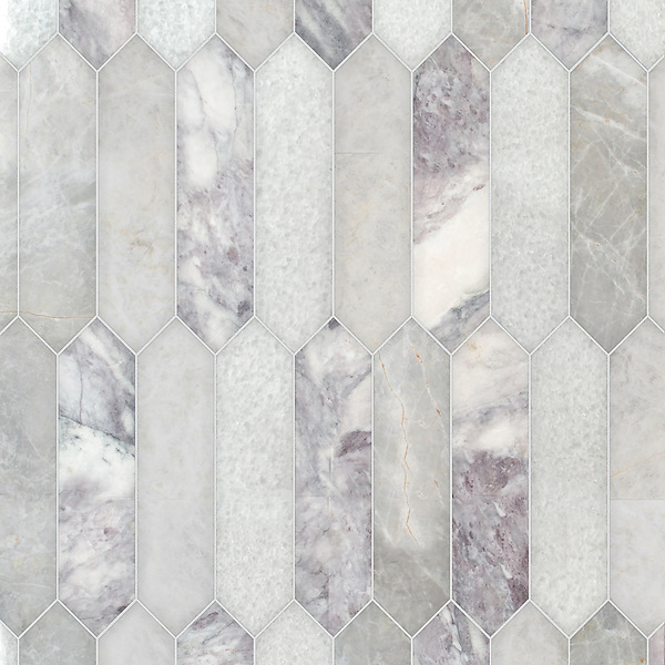 Picket, a hand-cut stone mosaic, shown in polished Lavender Mist, Snow White, and Desert Sky, is part of the Semplice® collection for New Ravenna.