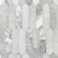 Picket, a hand-cut stone mosaic, shown in polished Lavender Mist, Snow White, and Desert Sky, is part of the Semplice™ collection for New Ravenna.