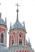 St. Petersburg, Russia - August 14, 2009 -- The bell tower of Chesmensky Church (also known as Chesma Church) in St. Petersburg, Russia on Friday, August 14, 2009.  It is pink and white and is built in the Gothic style..Credit: Ron Sachs / CNP