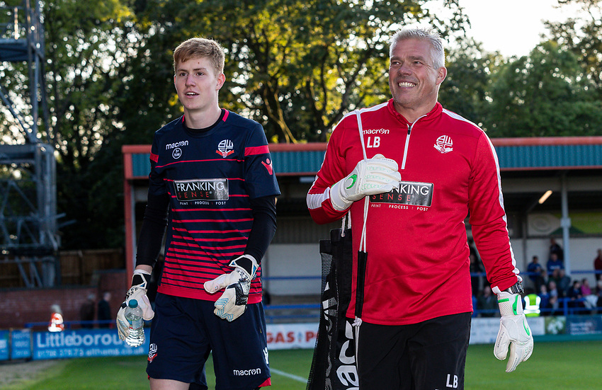 Bolton Wanderers' goalkeeper Matthew Alexander (left) and goalkeeping coach Lee Butler<br /> <br /> Photographer Andrew Kearns/CameraSport<br /> <br /> The Carabao Cup First Round - Rochdale v Bolton Wanderers - Tuesday 13th August 2019 - Spotland Stadium - Rochdale<br />  <br /> World Copyright © 2019 CameraSport. All rights reserved. 43 Linden Ave. Countesthorpe. Leicester. England. LE8 5PG - Tel: +44 (0) 116 277 4147 - admin@camerasport.com - www.camerasport.com