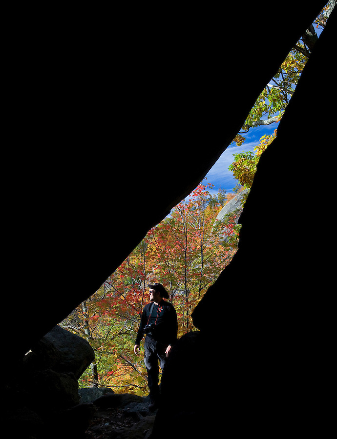 A hiker makes his way through mountain passageways on Old Rag Mountain in Albemarle County. Photo/ Andrew Shurtleff