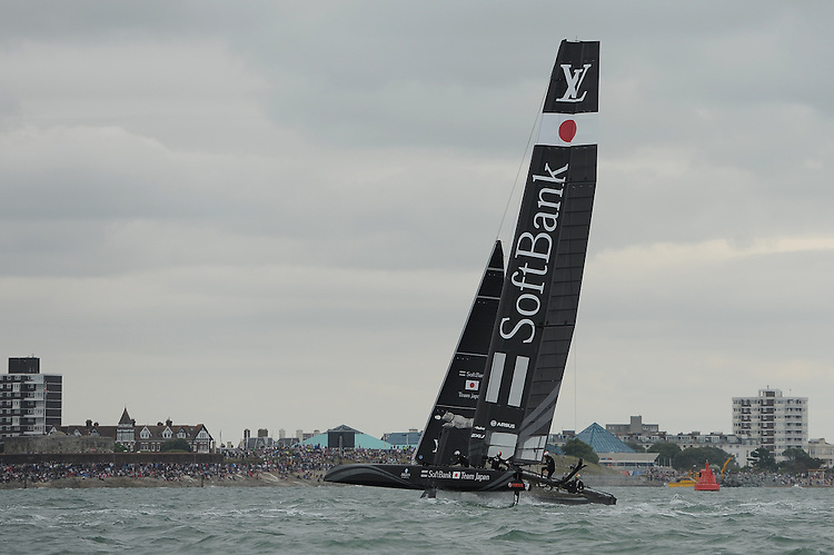 SoftBank Team Japan racing during day two of the Louis Vuitton America's Cup World Series racing, Portsmouth, United Kingdom. (Photo by Rob Munro/Stewart Communications)