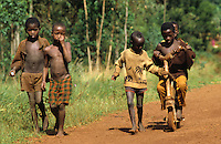 Boys playing with homemade bicycle