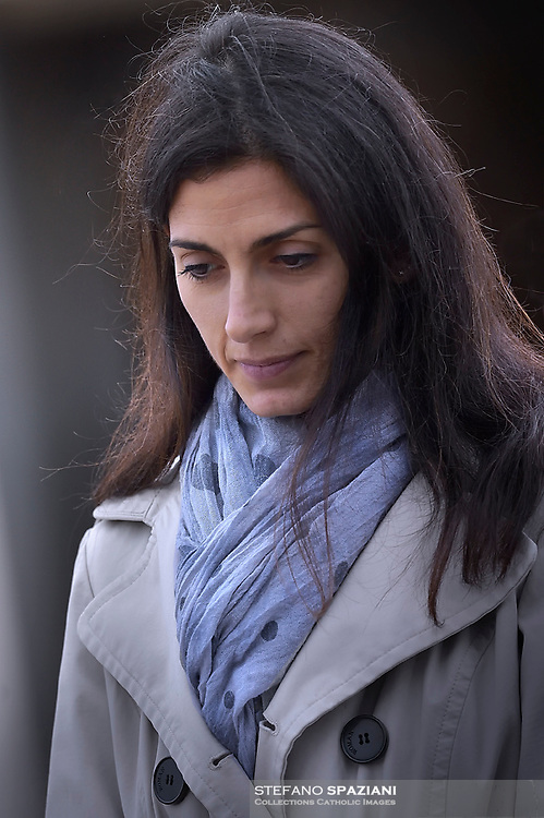 Rome's mayor Virgina Raggi.Pope Francis leads the All Souls Day Papal mass for the Commemoration of all the faithful departed on November 2, 2018 at the Cimitero Laurentino, a cemetery on the outskirts of Rome.