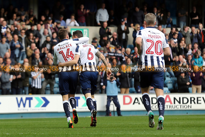 Shaun Williams celebrates scoring Millwall's opening goal with Jed Wallace during Millwall vs Scunthorpe United, Sky Bet EFL League 1 Football at The Den on 1st April 2017