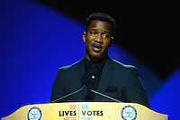 "Cincinnati, OH - July 18, 2016: Actor, director and producer Nate Parker speaks before an audience at the NAACP convention in Cincinnati, Ohio, July 18, 2016. Parker is known for his movies ""The Birth of a Nation"" (2016),"" Non-Stop"" (2014) and ""The Great Debaters (2007)."" (Photo by Don Baxter/Media Images International)"