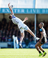 Ruaridh McConnochie of Bath Rugby claims the ball in the air. Gallagher Premiership match, between Exeter Chiefs and Bath Rugby on March 24, 2019 at Sandy Park in Exeter, England. Photo by: Patrick Khachfe / Onside Images