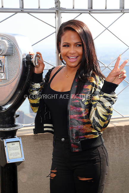 www.acepixs.com<br /> <br /> October 19 2016, New York City<br /> <br /> Actress Christina Milian promotes the new movie 'The Rocky Horror Picture Show' at the top of the Empire State Building on October 19 2016 in New York City<br /> <br /> By Line: Serena Xu/ACE Pictures<br /> <br /> <br /> ACE Pictures Inc<br /> Tel: 6467670430<br /> Email: info@acepixs.com<br /> www.acepixs.com