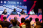 Crystal Palace forward Christian Benteke and Crystal Palace FC head coach Frank de Boer talks during a Premier League Asia Trophy Press Conference at Grand Hyatt Hotel on July 21, 2017 in Hong Kong, China. Photo by Marcio Rodrigo Machado / Power Sport Images