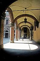 Italy: Bologna-Palazzo Communale, Court, Loggia. Photo '83.