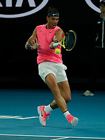 27th January 2020; Melbourne Park, Melbourne, Victoria, Australia; Australian Open Tennis, Day 8; Rafael Nadal of Spain returns against Nick Kyrgios of Australia during their game