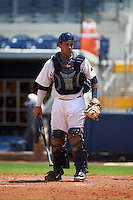 GCL Rays catcher Jovany Felipe (25) during the second game of a doubleheader against the GCL Red Sox on August 4, 2015 at Charlotte Sports Park in Port Charlotte, Florida.  GCL Red Sox defeated the GCL Rays 2-1.  (Mike Janes/Four Seam Images)
