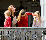 16-04-2014 Balcony 74th birthday of the Danish Queen at Marselisborg Castle in Aarhus.<br /> Princess Mary and Princess Isabella and Prince Vincent and Princess Josephine.<br /><br /> <br /> Credit: PPE/face to face<br /> - No Rights for Netherlands -