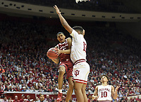NWA Democrat-Gazette/CHARLIE KAIJO Arkansas Razorbacks guard Jalen Harris (5) shoots a layup during the second half of the NCAA National Invitation Tournament, Saturday, March 23, 2019 at the Simon Skjodt Assembly Hall at the University of Indiana in Bloomington, Ind. The Arkansas Razorbacks fell to the Indiana Hoosiers 63-60.