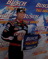 Nov 12, 2005; Phoenix, Ariz, USA;  Nascar driver Carl Edwards celebrates winning the pole position for the Busch Series Arizona 200 at Phoenix International Raceway. Mandatory Credit: Photo By Mark J. Rebilas