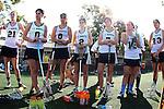 Santa Barbara, CA 02/18/12 - Jessica Dresser (UC Davis #21), Jamie Yates (UC Davis #8), Lisa Kritikos (UC Davis #6), Celia Manny (UC Davis #2), Lauren Colby (UC Davis #7), Natasha Markham (UC Davis #23) in action during the UC Davis - Colorado State game at the 2012 Santa Barbara Shootout.  Colorado State defeated UC Davis 10-9.