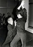 """Diana Rigg in rehearsal with Sir Robert Helpmann for """"Colette"""" at their rehearsal hall on January 15, 1982 in New York City."""