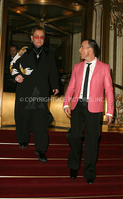 WWW.ACEPIXS.COM . . . . .  ....NEW YORK, APRIL 20, 2005....Elton John and David Furnish head out for an evening on the town.....Please byline: PAUL CUNNINGHAM - ACE PICTURES..  ***  ..Ace Pictures, Inc:  ..Craig Ashby (212) 243-8787..e-mail: picturedesk@acepixs.com..web: http://www.acepixs.com