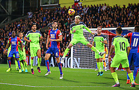 Alberto Moreno heads the ball during the EPL - Premier League match between Crystal Palace and Liverpool at Selhurst Park, London, England on 29 October 2016. Photo by Steve McCarthy.
