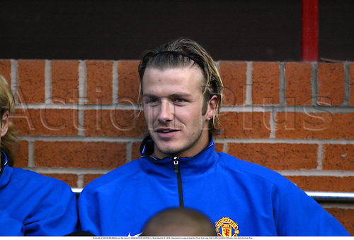 Portrait of DAVID BECKHAM on the bench, MANCHESTER UNITED 4 v Real Madrid 3, UEFA Champions League Quarter Final 2nd Leg, Old Trafford 030423 Photo: Glyn Kirk/Action Plus...2003.football soccer player players